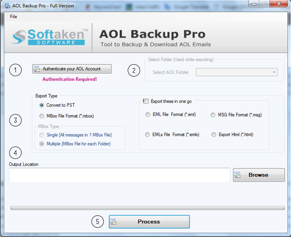Export AOL Emails in Multiple File 1.0