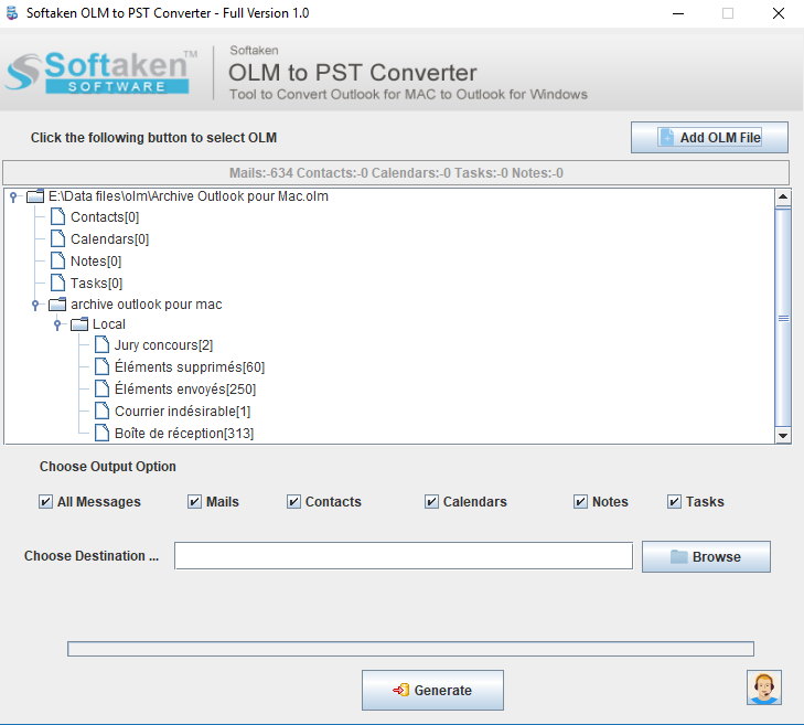 Export OLM Files to Outlook PST Converte